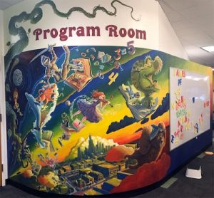 Picture of a mural in the DGPL Youth Services Room